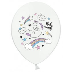 Balon lateksowy 30 cm - Jednorożec Unicorn Pastel Pure White