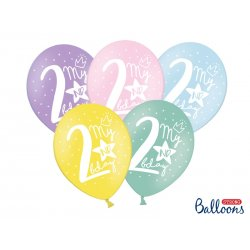 Balon 30cm Dwójka - lateksowy, różne kolory pastel