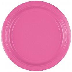 8 różowych papierowych talerzyków 22,8 cm
