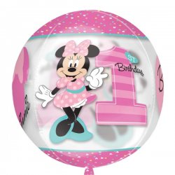 Myszka Minnie Balon Orbz - 1 urodziny Nadruk z 4 stron