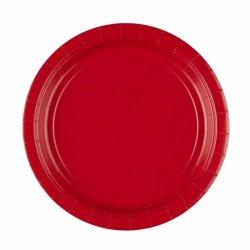 8 czerwonych papierowych talerzyków 22,8 cm