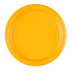 Papierowe Talerzyki 8 sztuk - Żółte - Średnica 22,8 cm