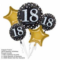 Bukiet Balonów na 18 urodziny - 5 balonów na Hel