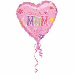 Balon Love You Mum - Kocham Cię Mamo - Serce 43 cm
