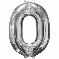 Balon cyfra 0 srebrna - 66 cm