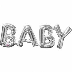 Balon Napis BABY (Dziecko) - srebrny kolor 63 cm x 22 cm