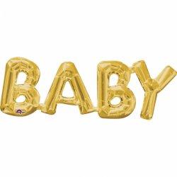 Złoty napis BABY (Dziecko) z Balonów - 66 cm 22 cm