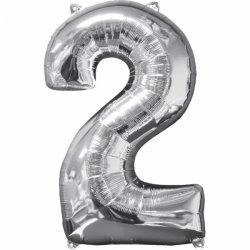 Balon cyfra 2 srebrna - 66 cm