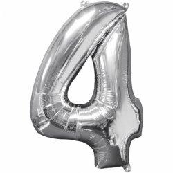 Balon cyfra 4 srebrna - 66 cm