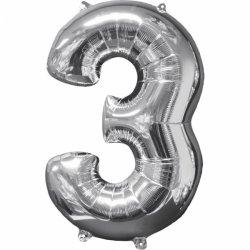 Balon cyfra 3 srebrna - 66 cm