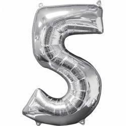 Balon cyfra 5 srebrna - 66 cm