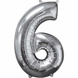 Balon cyfra 6 srebrna - 66 cm
