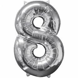 Balon cyfra 8 srebrna - 66 cm