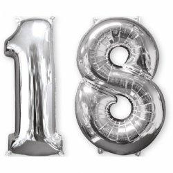Balon cyfra 18 srebrna - 66 cm