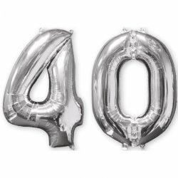 Balon cyfra 40 srebrna - 66 cm