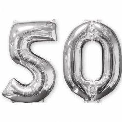 Balon cyfra 50 srebrna - 66 cm
