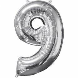Balon cyfra 9 srebrna - 66 cm
