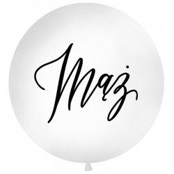Balon Gigant Ślubny z napisem 'Mąż' - średnica 100 cm