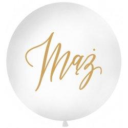 Balon Ślubny - złoty napis 'Mąż' - średnica 100 cm