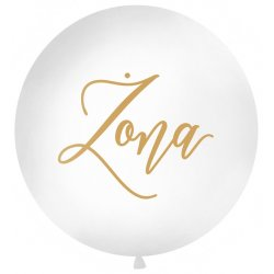Balon Ślubny - złoty napis 'Żona' - średnica 100 cm
