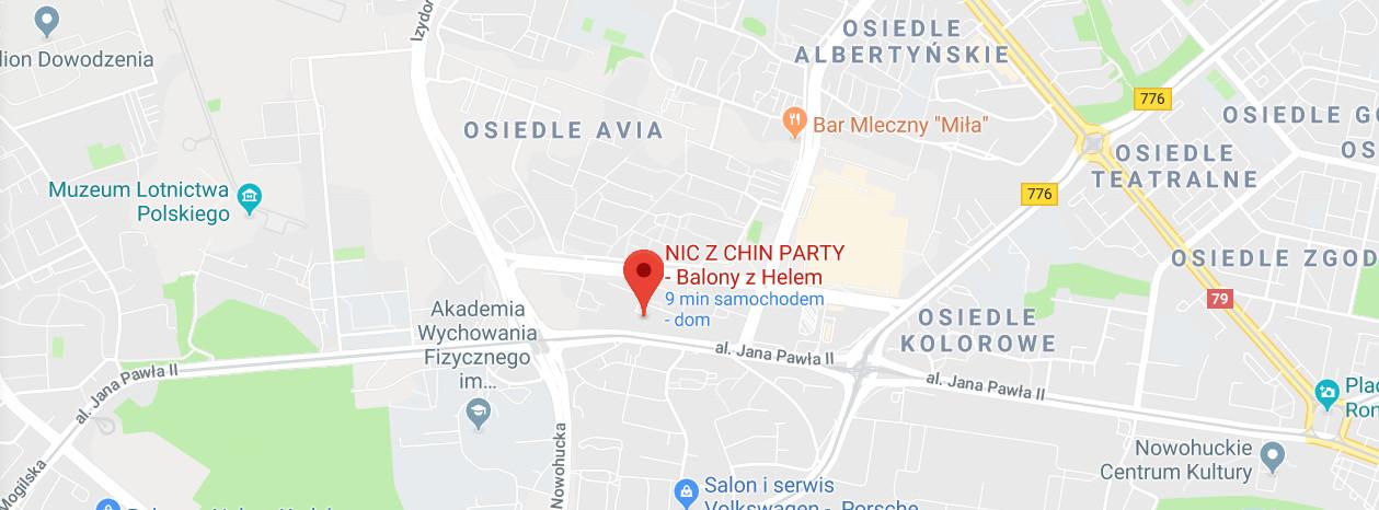 NIC Z CHIN Balony z Helem Kraków - Mapka Dojazdu