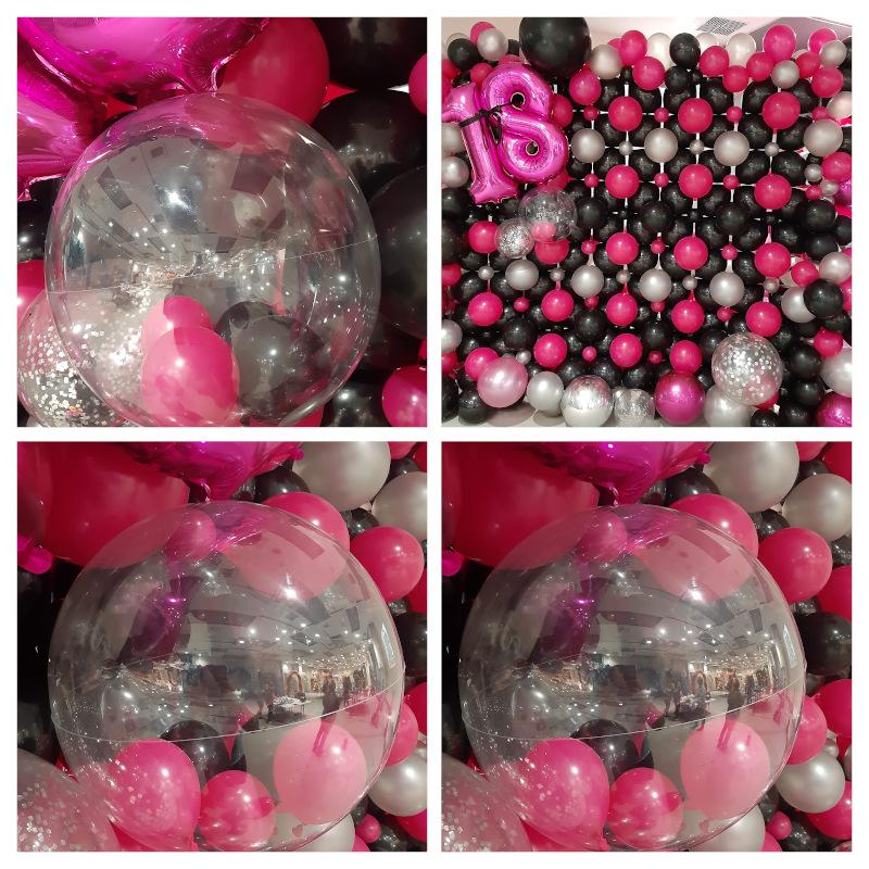 Przeźroczyste balony na tle ściany z balonów - 18-te urodziny