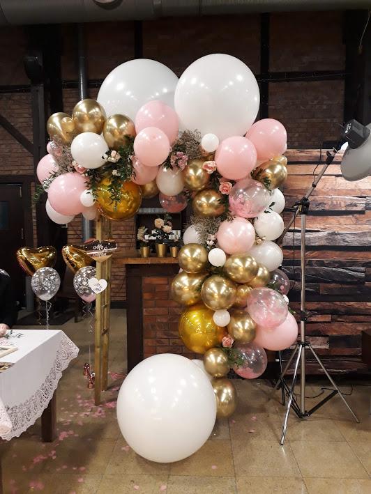 Girlanda z balonów - złoto różowe balony - Kraków