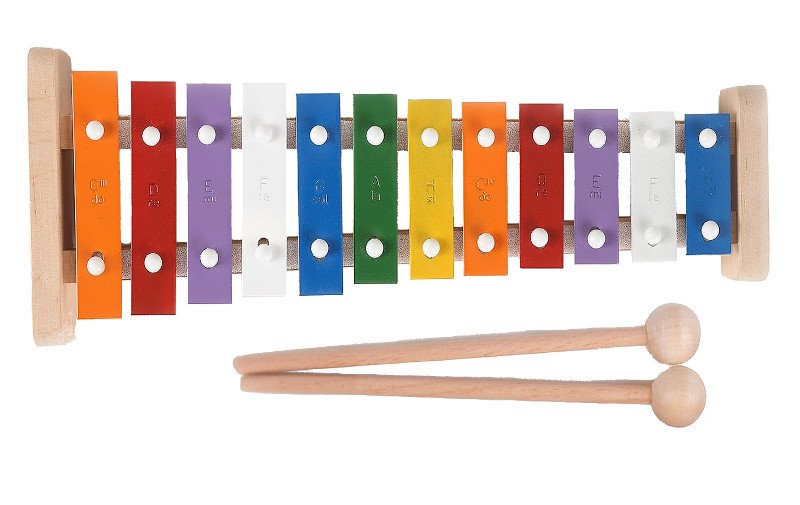 Cymbałki dla dzieci, tradycyjne, 12 tonowe, drewniane