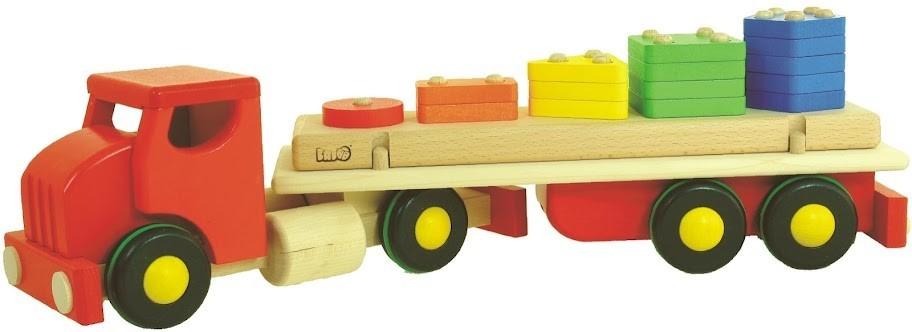 Bajo 44710 - Duża drewniana ciężarówka dla dzieci - Czerwona