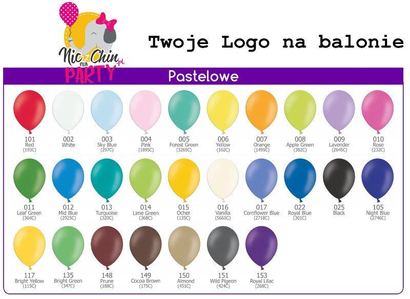 Balony lateksowe w kolrach pastelowych. Wzornik kolorów. Balony lateksowe z helem w Krakowie.